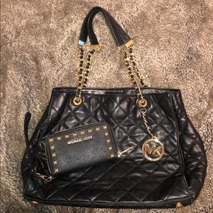 Michael Kors black medium purse and studded wallet